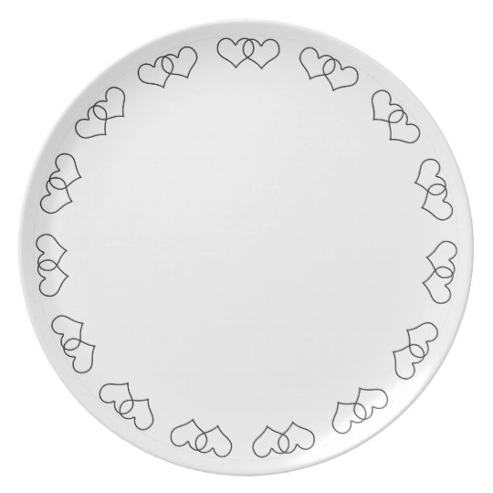 Interlocked Hearts - Black and White Plate