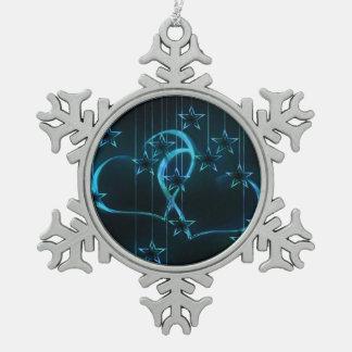 Interlocking Blue Hearts Pewter Snowflake Decoration