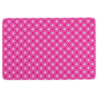 INTERLOCKING CIRCLES PATTERN Hot Pink & White Floor Mat