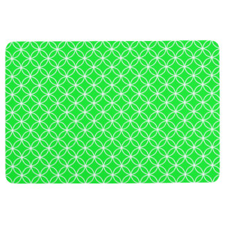 INTERLOCKING CIRCLES PATTERN Lime Green & White Floor Mat