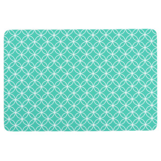 INTERLOCKING CIRCLES PATTERN Seafoam Green & White Floor Mat