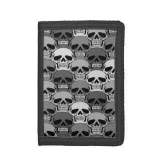 Interlocking Grey Skull Pattern Trifold Wallets