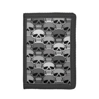 Interlocking Grey Skull Pattern Trifold Wallet
