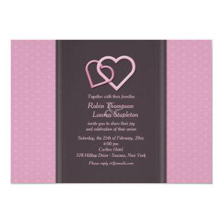 Interlocking Hearts Lesbian Wedding Invitation