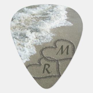 Interlocking Hearts on Beach Sand Guitar Pick