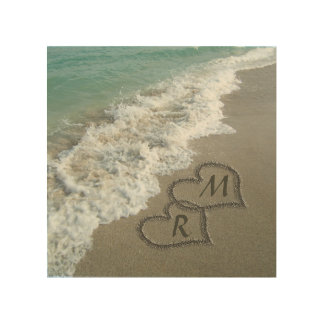 Interlocking Hearts on Beach Sand Wood Canvases