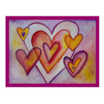 Interlocking Love Hearts Personalised Postcards