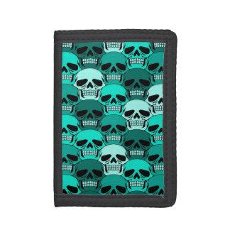 Interlocking Teal Blue Skull Pattern Tri-fold Wallet