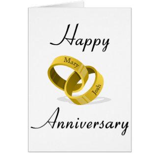 Interlocking Wedding Rings - Engraved custom Names Card