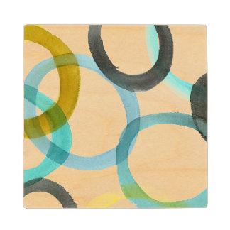 Interlocking Yellow & Blue Circles Maple Wood Coaster