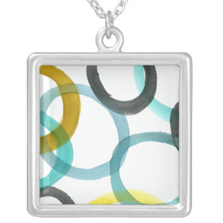 Interlocking Yellow & Blue Circles Silver Plated Necklace