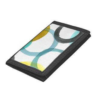 Interlocking Yellow & Blue Circles Tri-fold Wallets