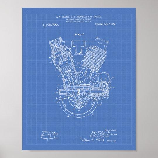 Internal Combustion Engine 1914 Patent Blueprint Poster