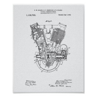Internal Combustion Engine 1914 Patent White Paper Poster