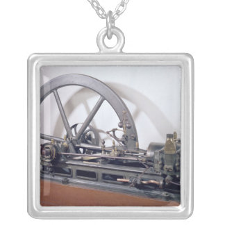 Internal combustion engine silver plated necklace
