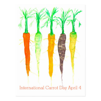International Carrot Day April 4 Watercolor Postcard