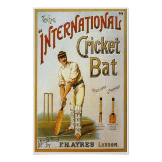 International Cricket Bat Poster