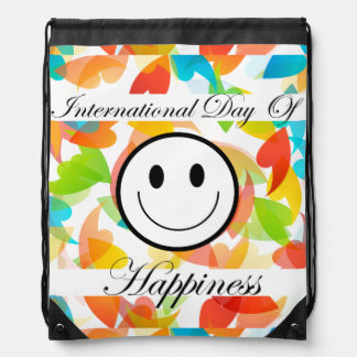 International Day of Happiness- Commemorative Day Drawstring Bags