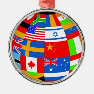 international flags globe earth christmas ornament