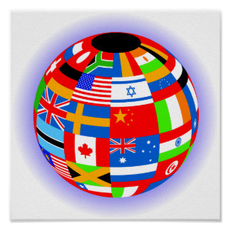 international flags globe earth posters