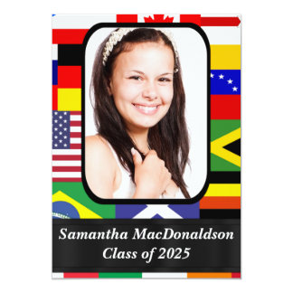 International flags photo graduation 13 cm x 18 cm invitation card