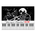 International Jazz Day Piano Keys and Musician Greeting Card