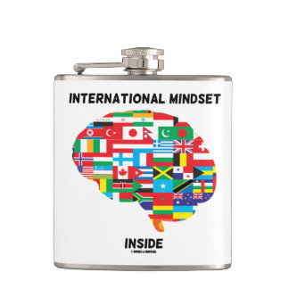 International Mindset Inside Intl Flags Brain Hip Flask
