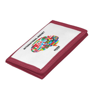 International Mindset Inside Intl Flags Brain Tri-fold Wallets