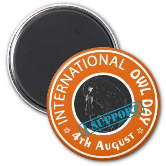 International Owl Day-4th August-Endangered Specie 6 Cm Round Magnet