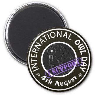 International Owl Day-4th August-Endangered Specie 6 Cm Round Magnet