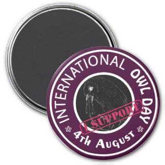 International Owl Day-4th August-Endangered Specie 7.5 Cm Round Magnet
