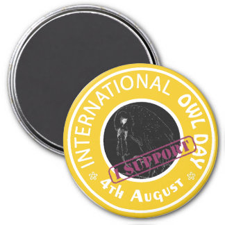 International Owl Day-4th August-Endangered Specie 7.5 Cm Round Magnet