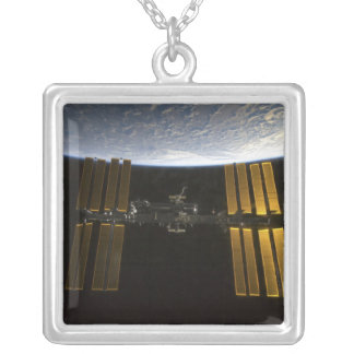 International Space Station 10 Silver Plated Necklace