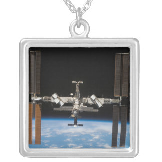 International Space Station 19 Silver Plated Necklace