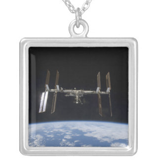 International Space Station 9 Silver Plated Necklace