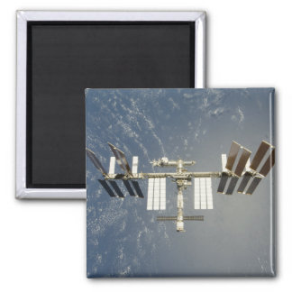 International Space Station backdropped Square Magnet
