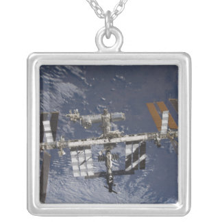 International Space Station in orbit Silver Plated Necklace