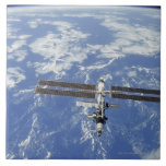 International Space Station orbiting Earth Large Square Tile