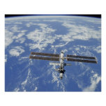 International Space Station orbiting Earth Poster