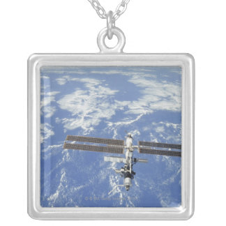 International Space Station orbiting Earth Silver Plated Necklace
