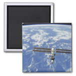 International Space Station orbiting Earth Square Magnet