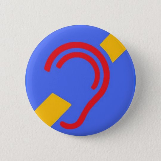 International Symbol for Deaf, Red, Yellow on Blue