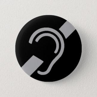 International Symbol for Deaf, Silver on Black 6 Cm Round Badge