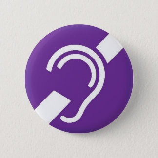 International Symbol for Deaf, White on Purple 6 Cm Round Badge