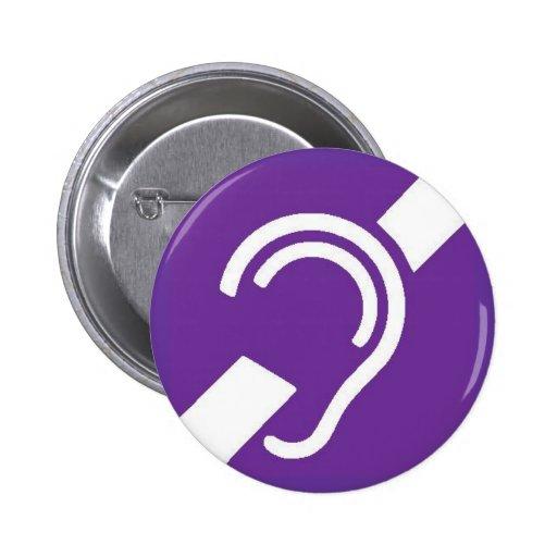 International Symbol for Deaf, White on Purple Pinback Button