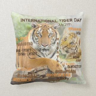 International Tiger Day, July 29, Typography Art Cushion