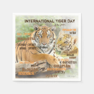 International Tiger Day, July 29, Typography Art Disposable Napkins