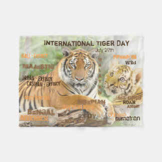International Tiger Day, July 29, Typography Art Fleece Blanket