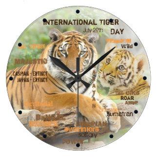 International Tiger Day, July 29, Typography Art Large Clock
