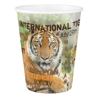 International Tiger Day, July 29, Typography Art Paper Cup